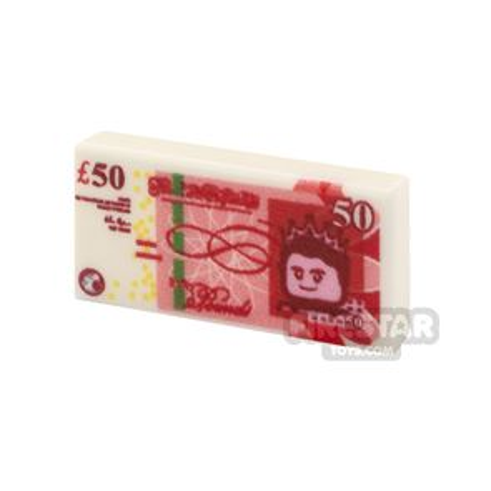 Printed Tile 1x2 - British Money - 50 Pound Note