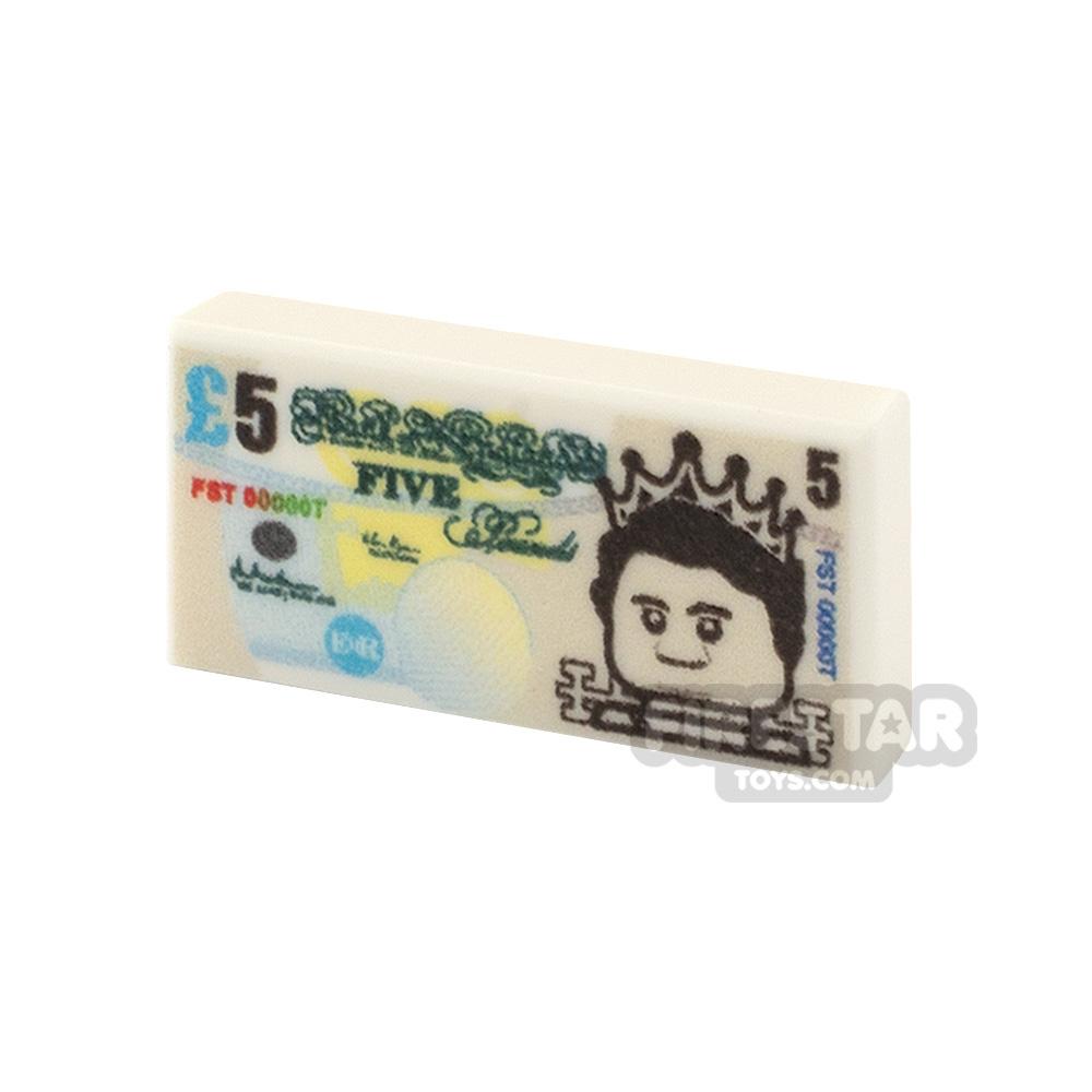 Printed Tile 1x2 - British Money - 5 Pound Note