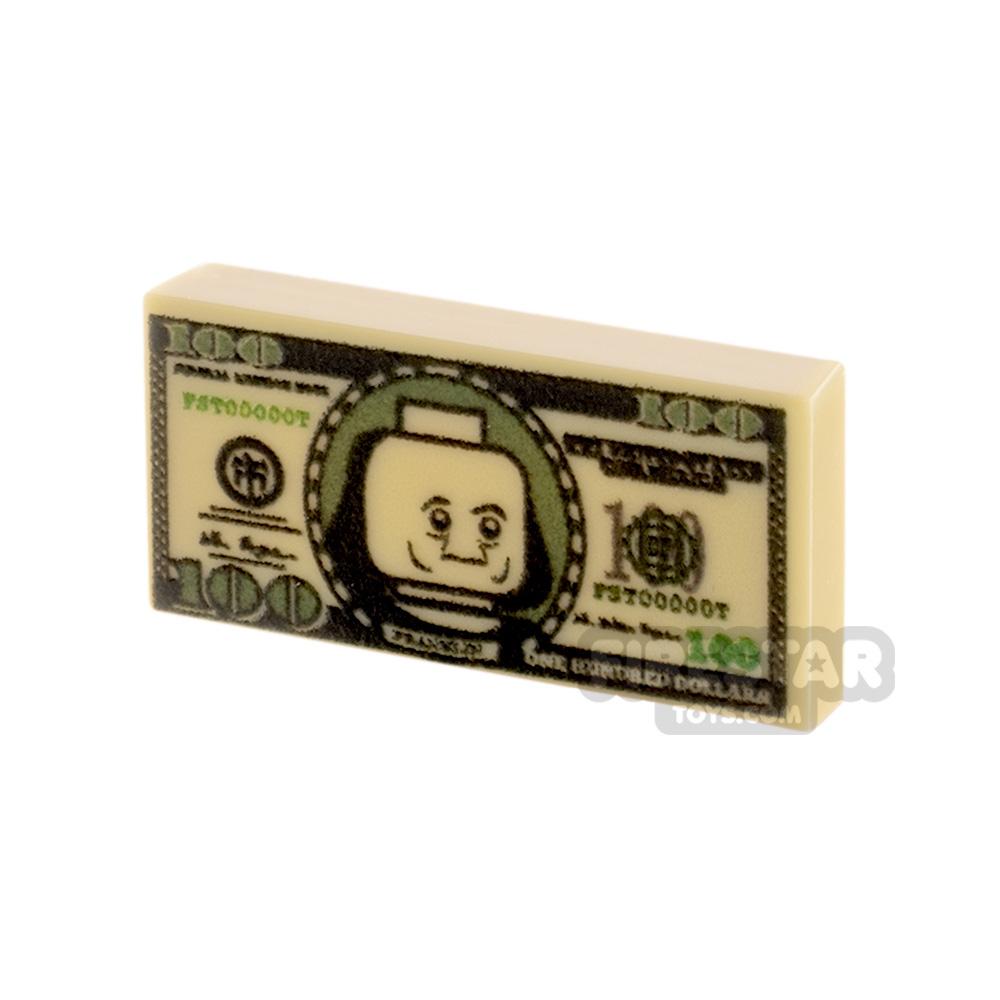 Printed Tile 1x2 - US Money - 100 Dollar Note