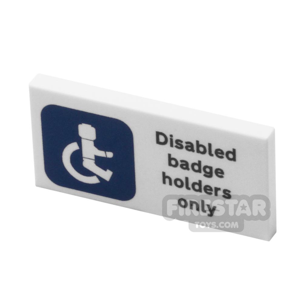 Printed Tile 2x4 - Disabled Badge Holder Sign
