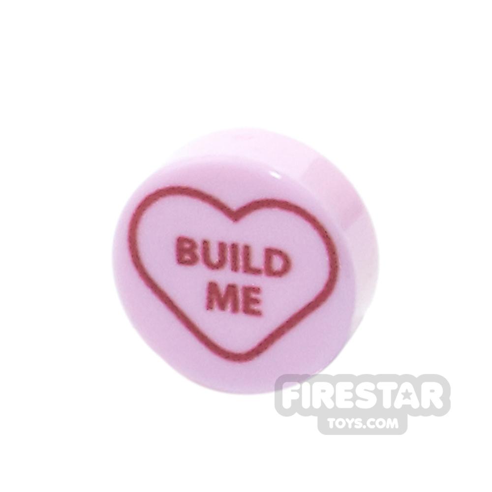 Printed Round Tile 1x1 - Brick Hearts - Build Me