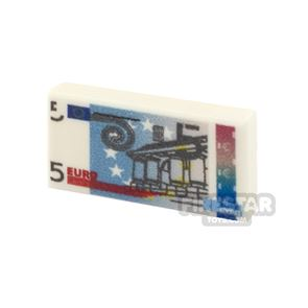 Printed Tile 1x2 - EU Money - 5 Euro Note