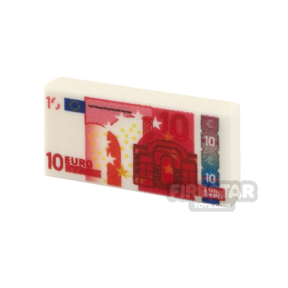 Printed Tile 1x2 - EU Money - 10 Euro Note