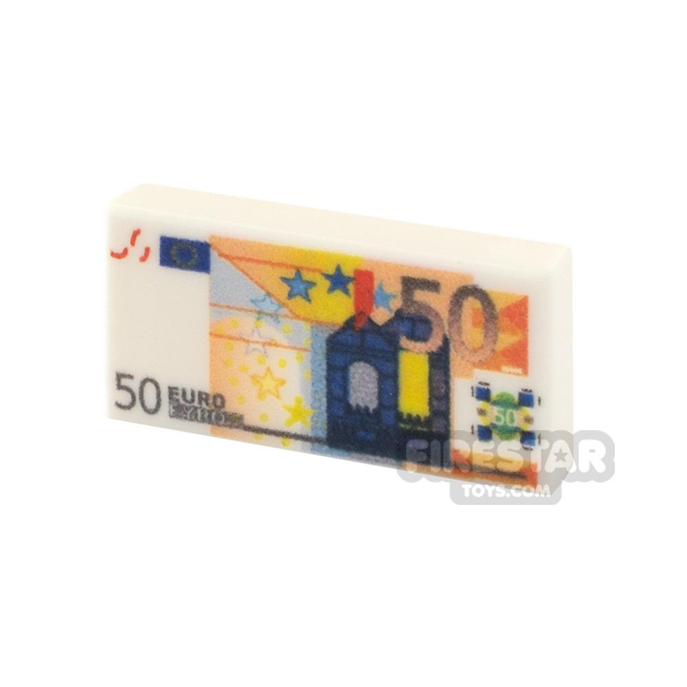 Printed Tile 1x2 - EU Money - 50 Euro Note