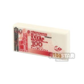 Printed Tile 1x2 - Chinese Money - 100 HKD Note