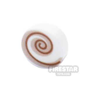 Printed Round Tile 1x1 - Drink Topping - Cream Swirl