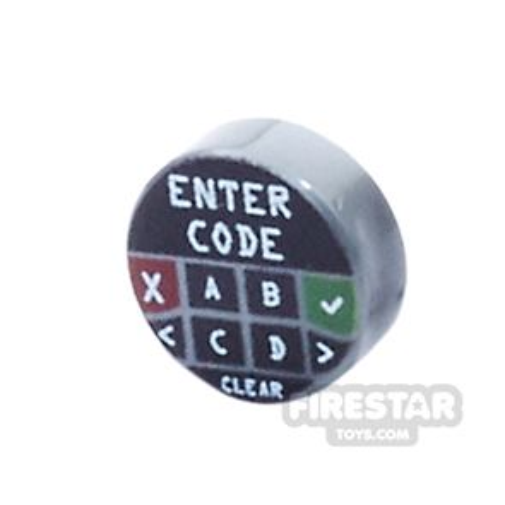 Printed Round Tile 1x1 - Security Key Pad