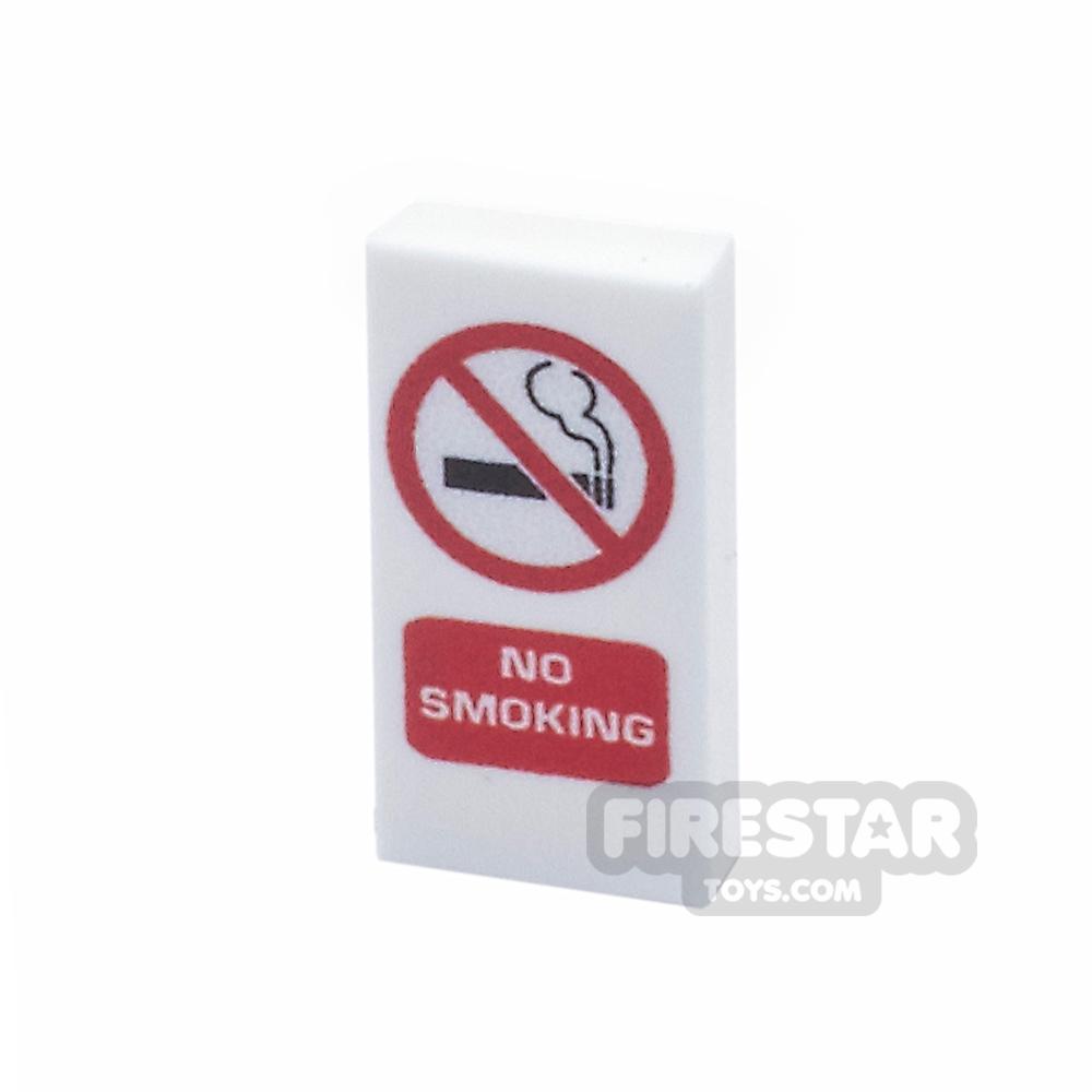 Printed Tile 1x2 - No Smoking Sign - White
