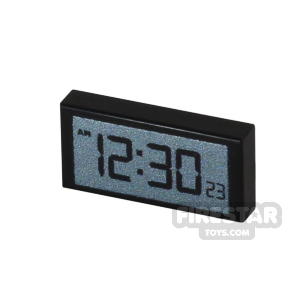 Printed Tile 1x2 - Digital Clock - Black