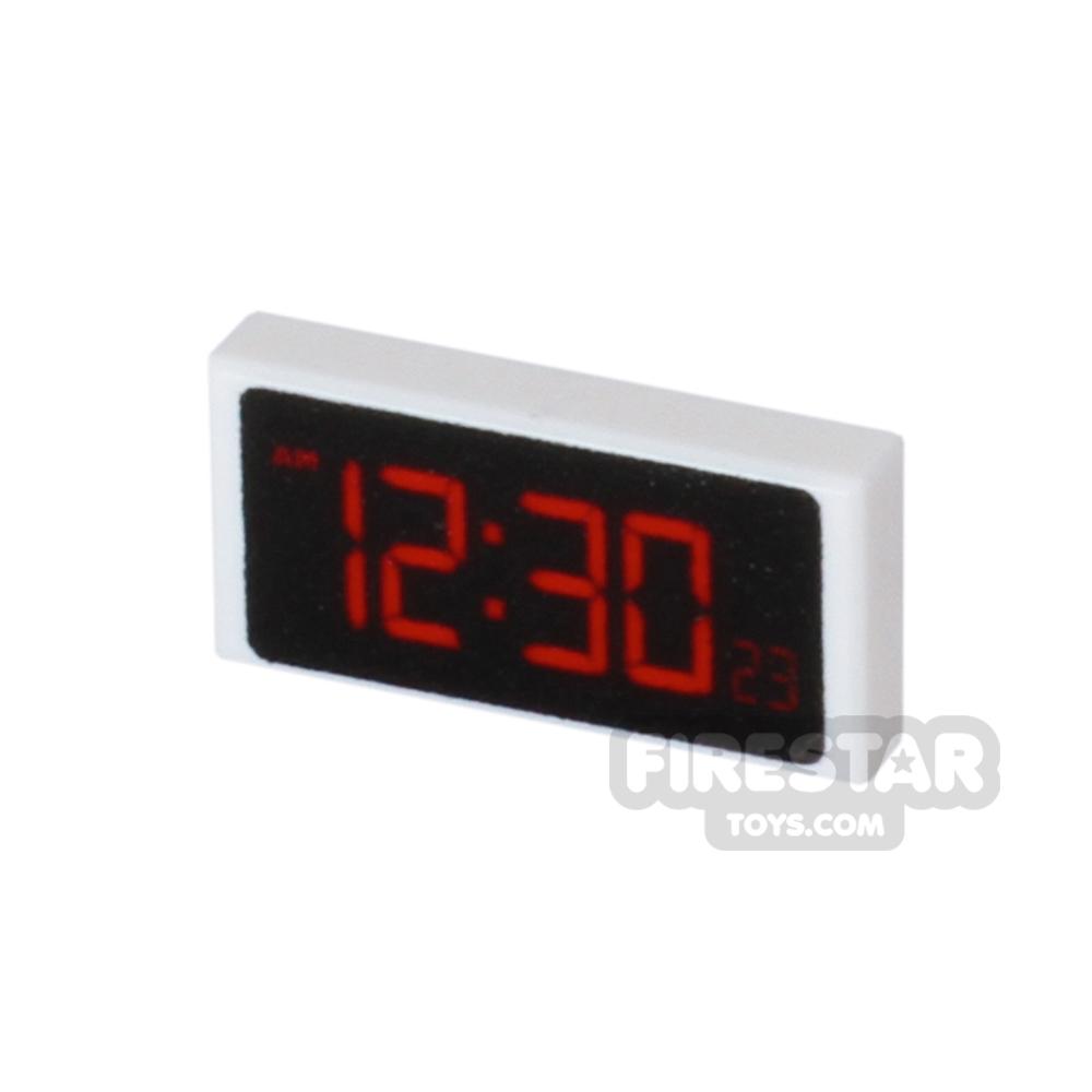 Printed Tile 1x2 - Digital Clock - White