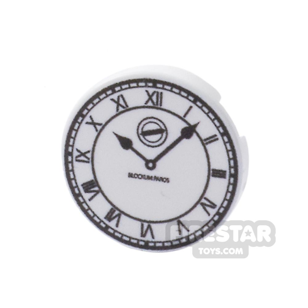 Printed Round Tile 2x2 - Roman Clock Face