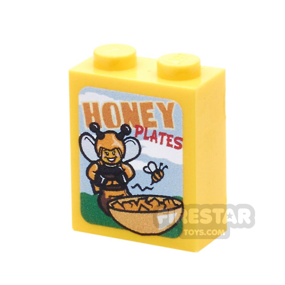 Printed Brick 1x2x2 - Honey Plates Cereal