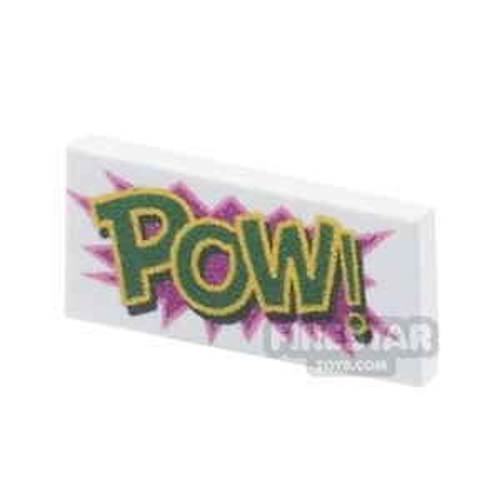 Printed Tile 1x2 - Comic Book 'POW' Tile - White