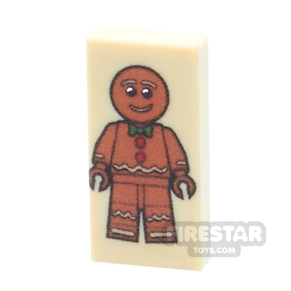 Printed Tile 1x2 - Gingerbread Man