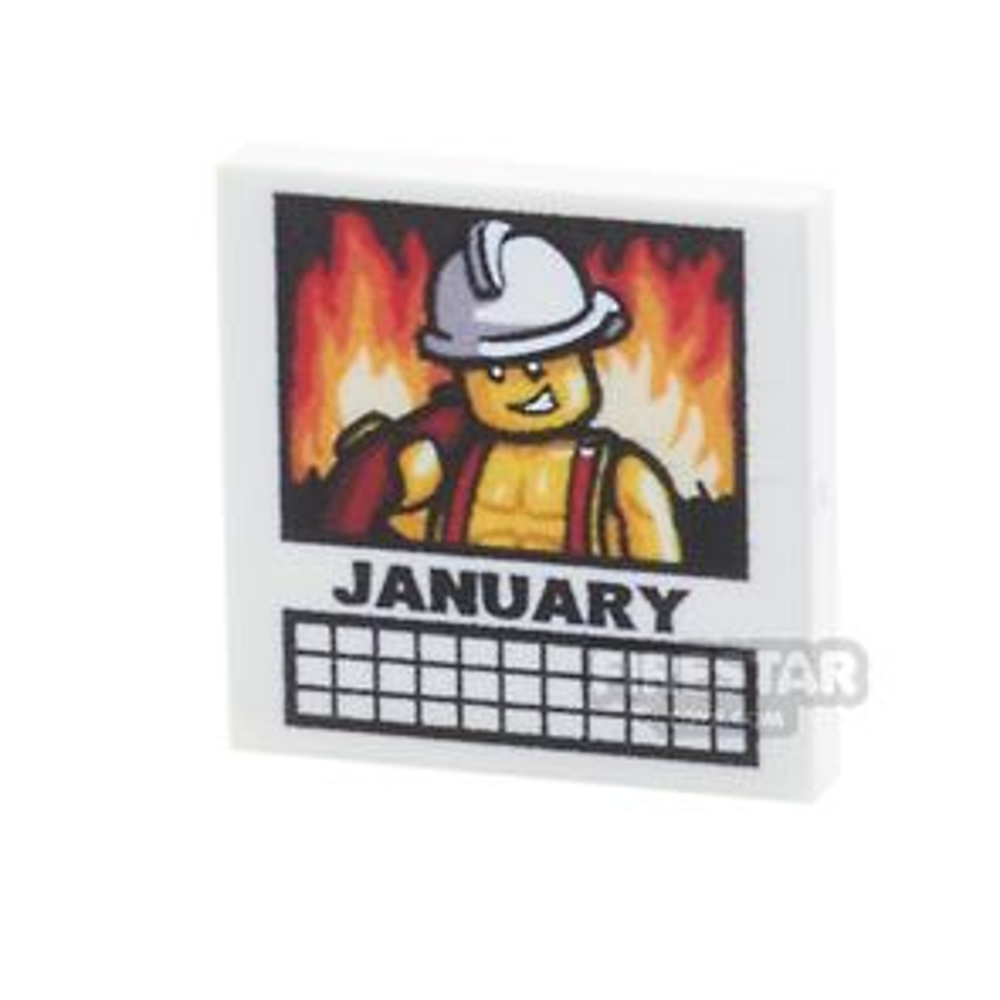 Printed Tile 2x2 - Calendar - January