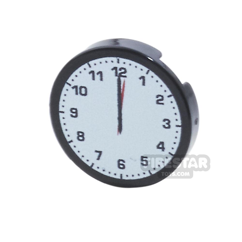 Printed Round Tile 2x2 - Midnight Clock