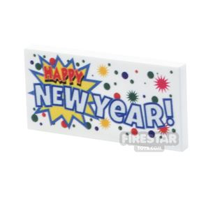 Printed Tile 2x4 - Happy New Year Banner