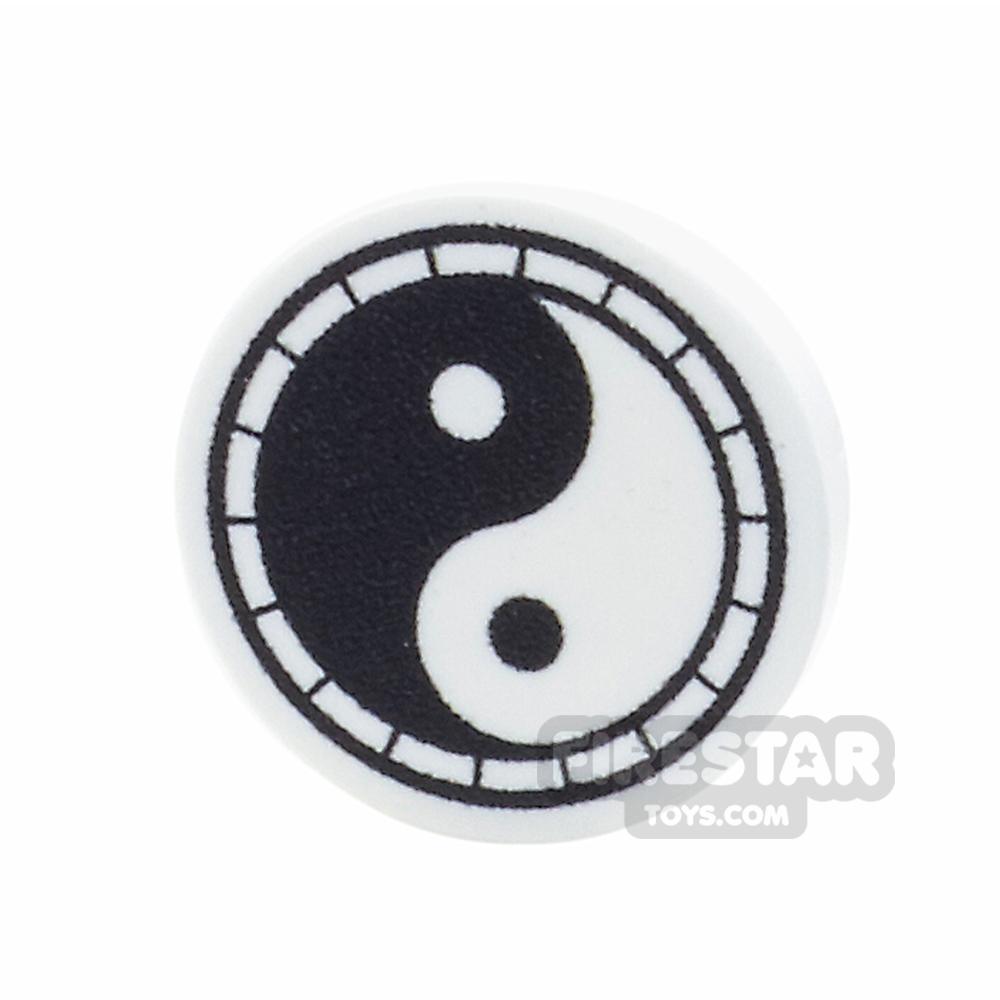 Printed Round Tile 2x2 - Yin and Yang Symbol