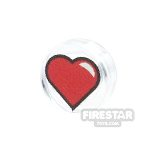 Printed Round Tile 1x1 - Heart - Red