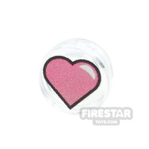 Printed Round Tile 1x1 - Heart - Pink