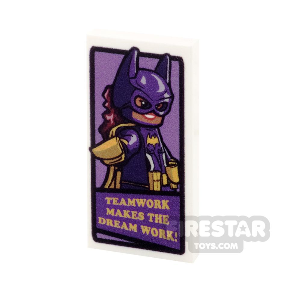 Printed Tile 2x4 - Motivational Batgirl Poster