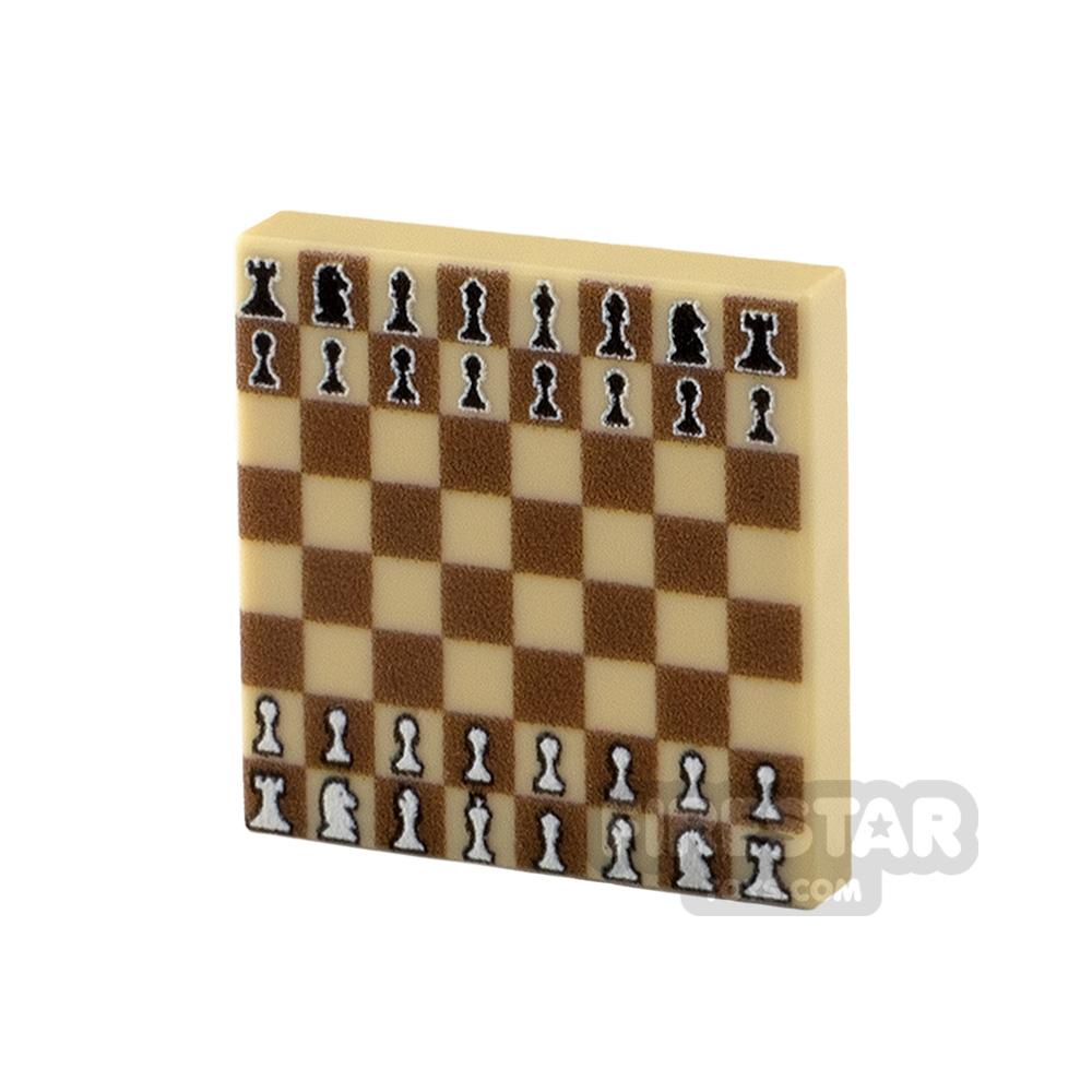 Printed Tile 2x2 - Chess Board - Dark Tan