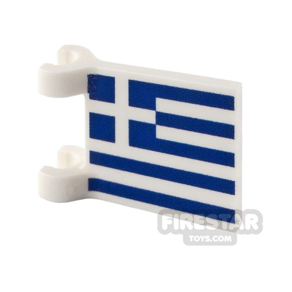 Printed Flag with 2 Holders 2x2 Greek Flag