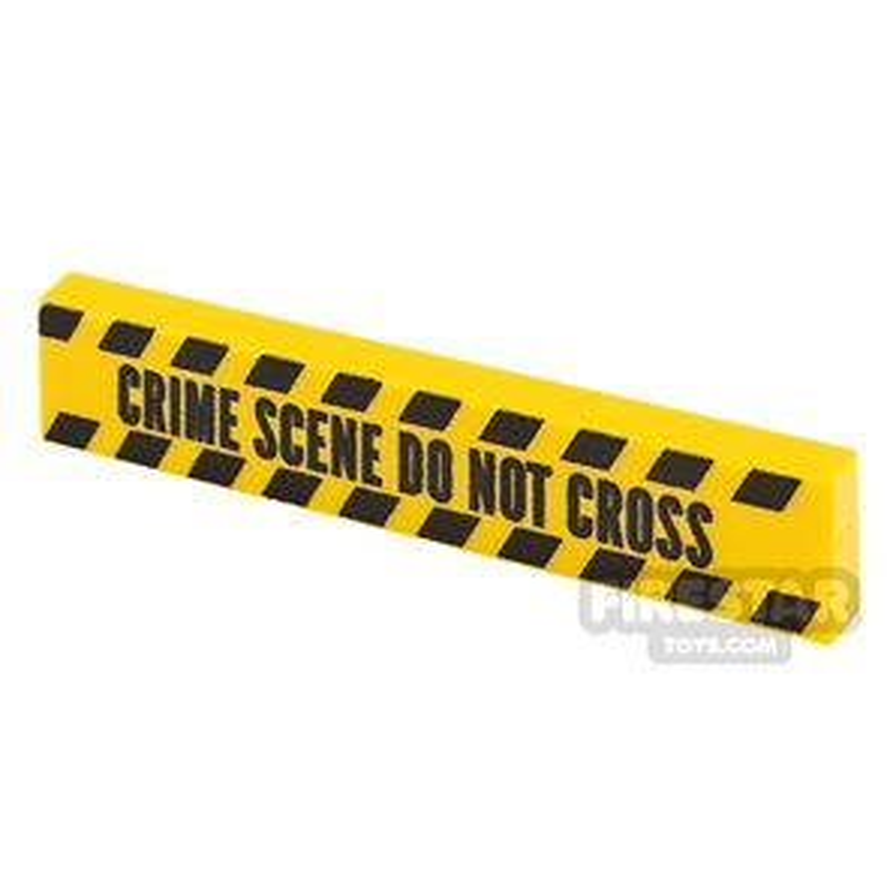 Printed Tile 1x4 Yellow Tape Crime Scene