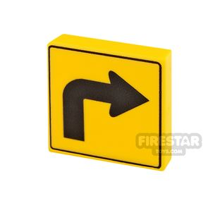 Printed Tile 2x2 Directional Arrow Right
