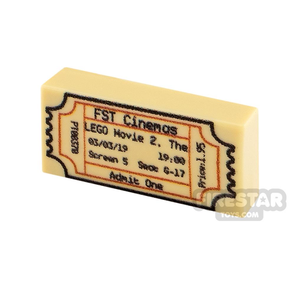 Printed Tile 1x2 Cinema Ticket