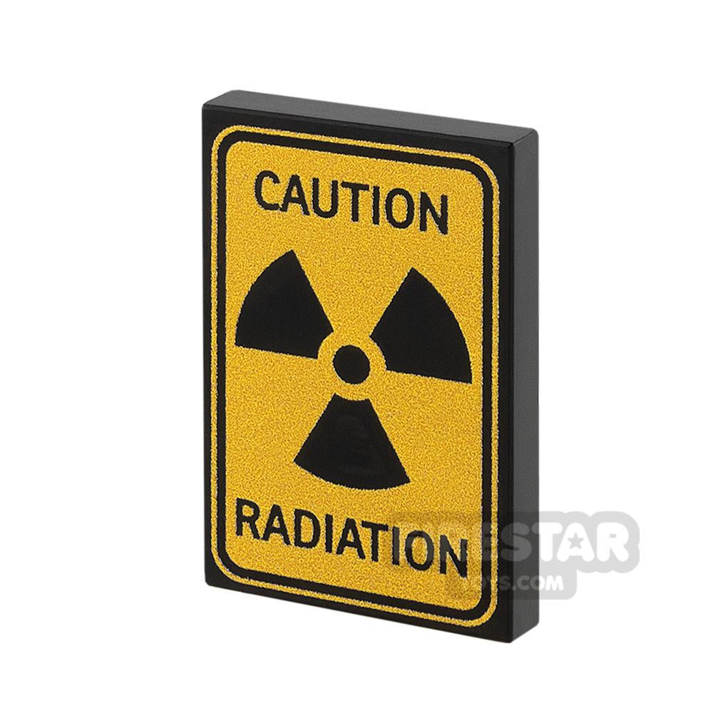 Printed Tile 2x3 Caution Radiation
