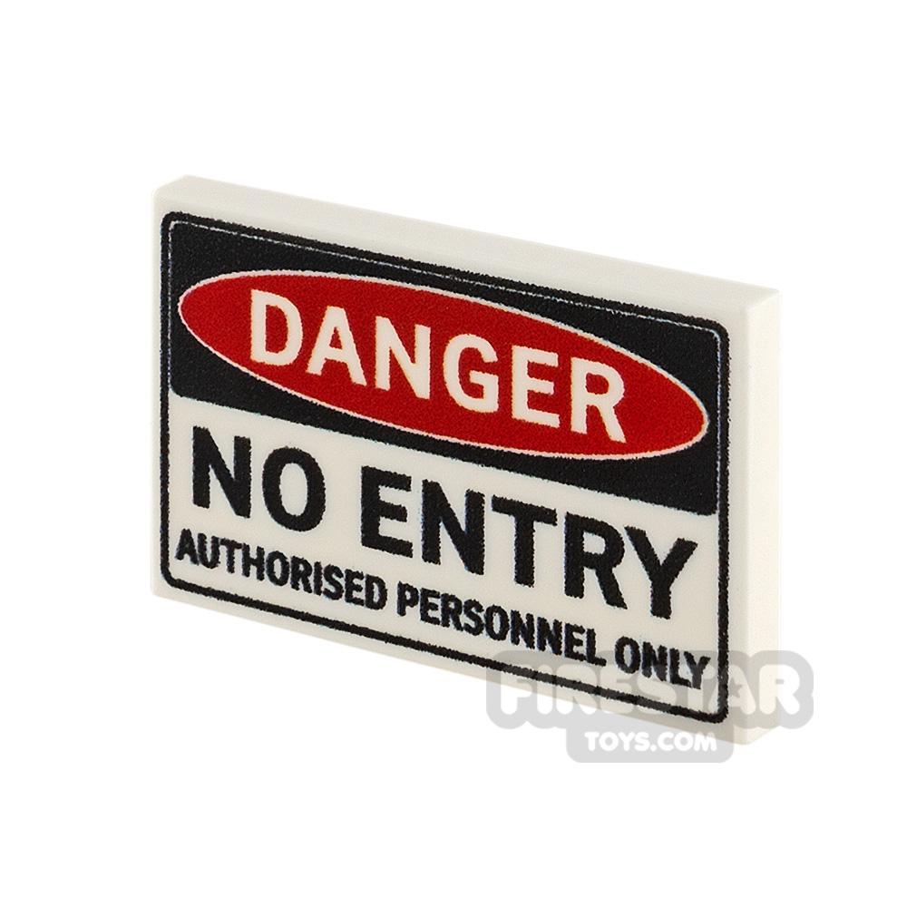 Printed Tile 2x3 Danger No Entry
