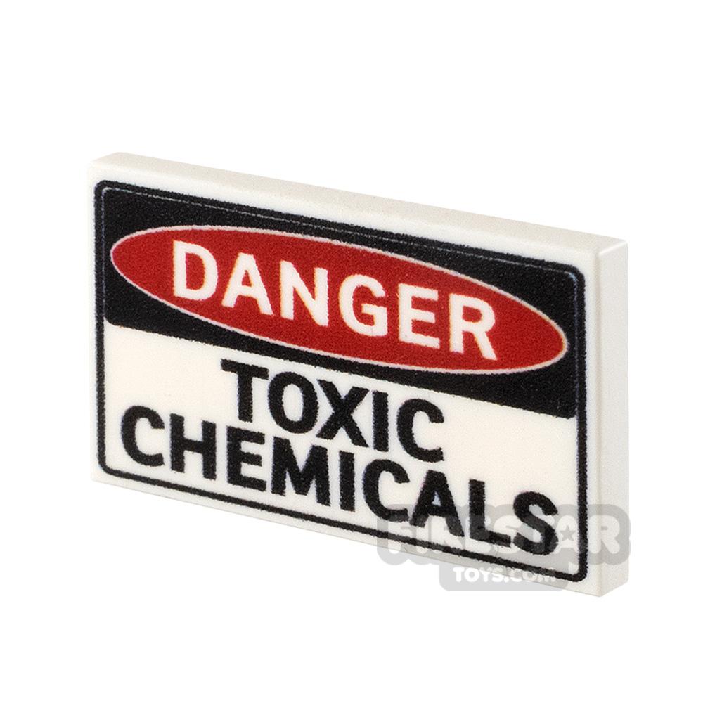Printed Tile 2x3 Danger Toxic Chemicals