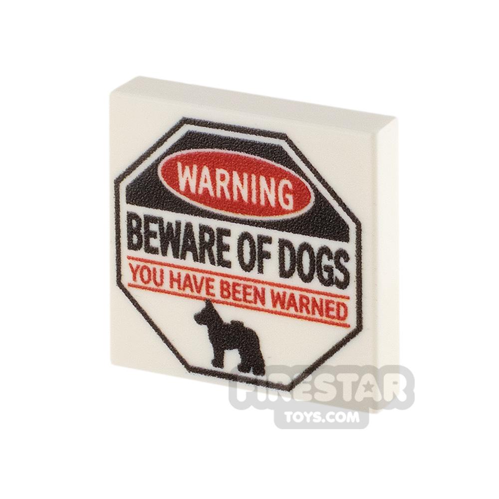 Printed Tile 2x2 Beware of Dogs