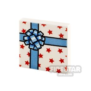 Printed Tile 2x2 White Present with Blue Ribbon