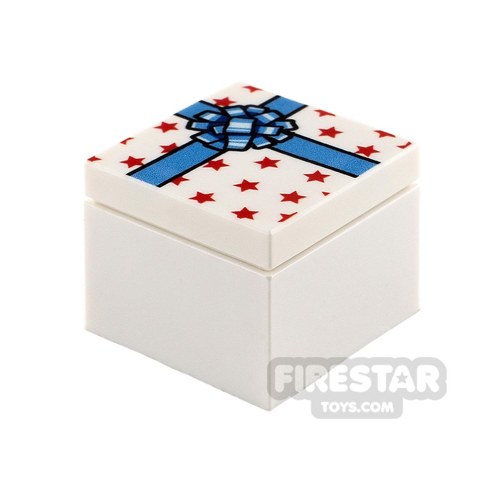 Printed Box 2x2 White Present with Blue Ribbon