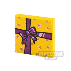 Printed Tile 2x2 Yellow Present with Purple Ribbon