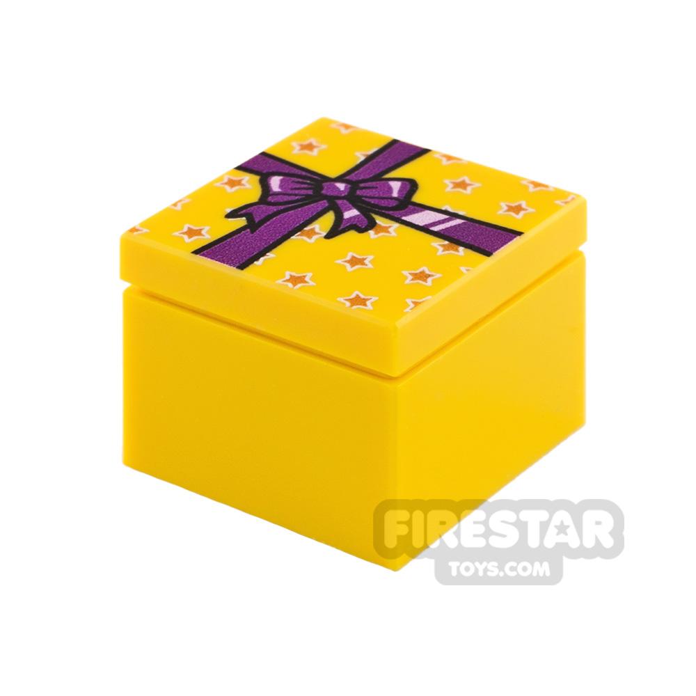 Printed Box 2x2 Yellow Present with Purple Ribbon