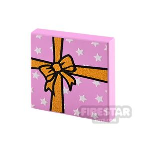 Printed Tile 2x2 Pink Present with Yellow Ribbon