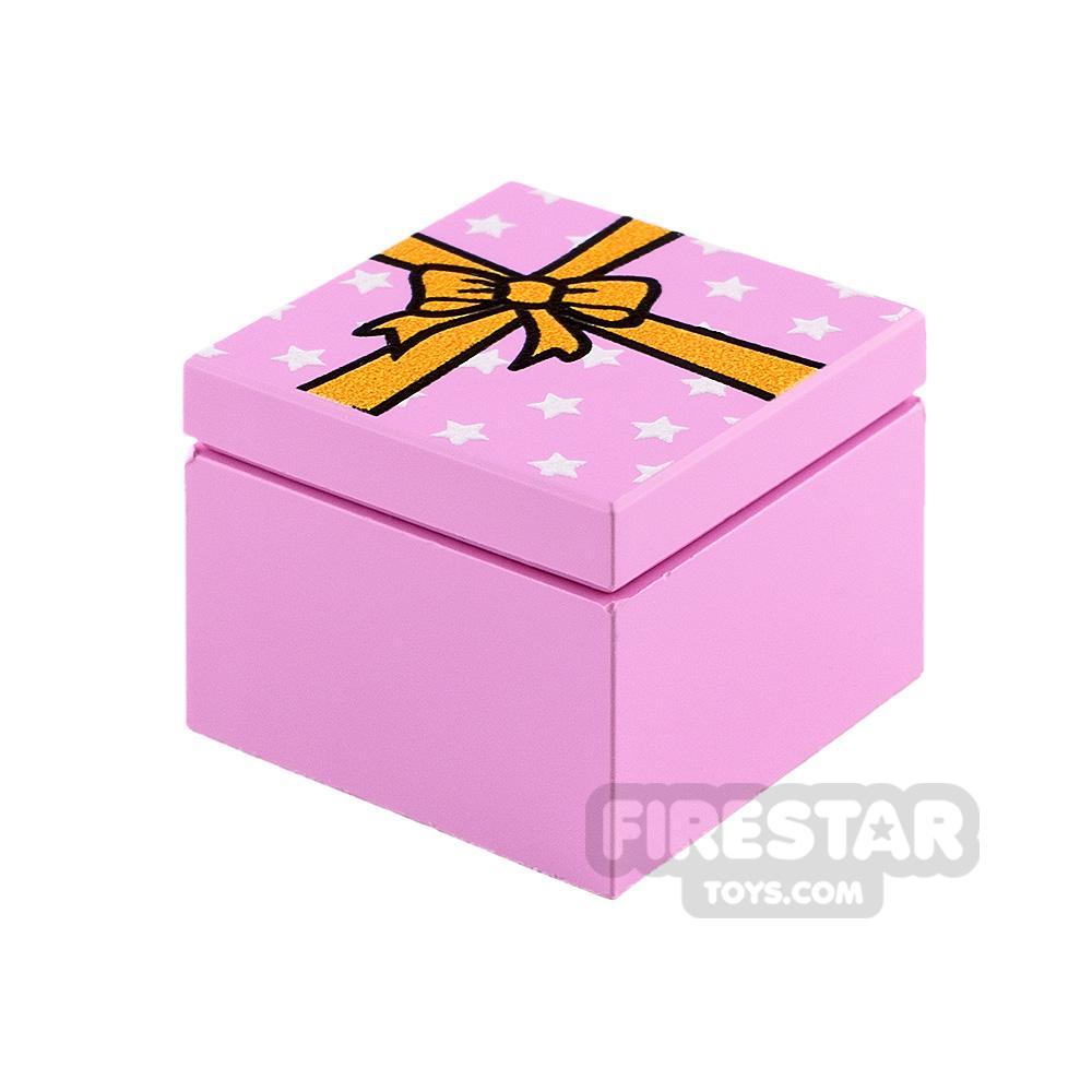 Printed Box 2x2 Pink Present with Yellow Ribbon