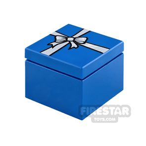 Printed Box 2x2 Blue Present with Silver Ribbon