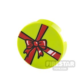 Printed Round Tile 2x2 Lime Present with Red Ribbon