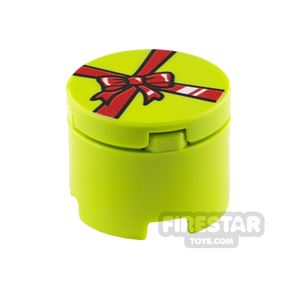 Printed Round Box 2x2 Lime Present with Red Ribbon