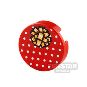 Printed Round Tile 2x2 Red Present with Gold Ribbon
