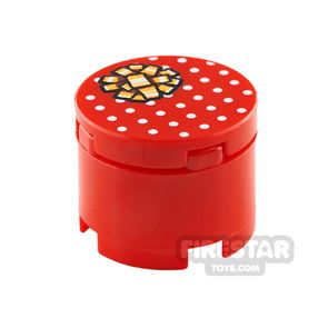 Printed Round Box 2x2 Red Present with Gold Ribbon