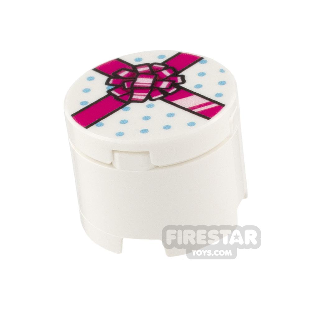 Printed Round Box 2x2 White Present with Pink Ribbon