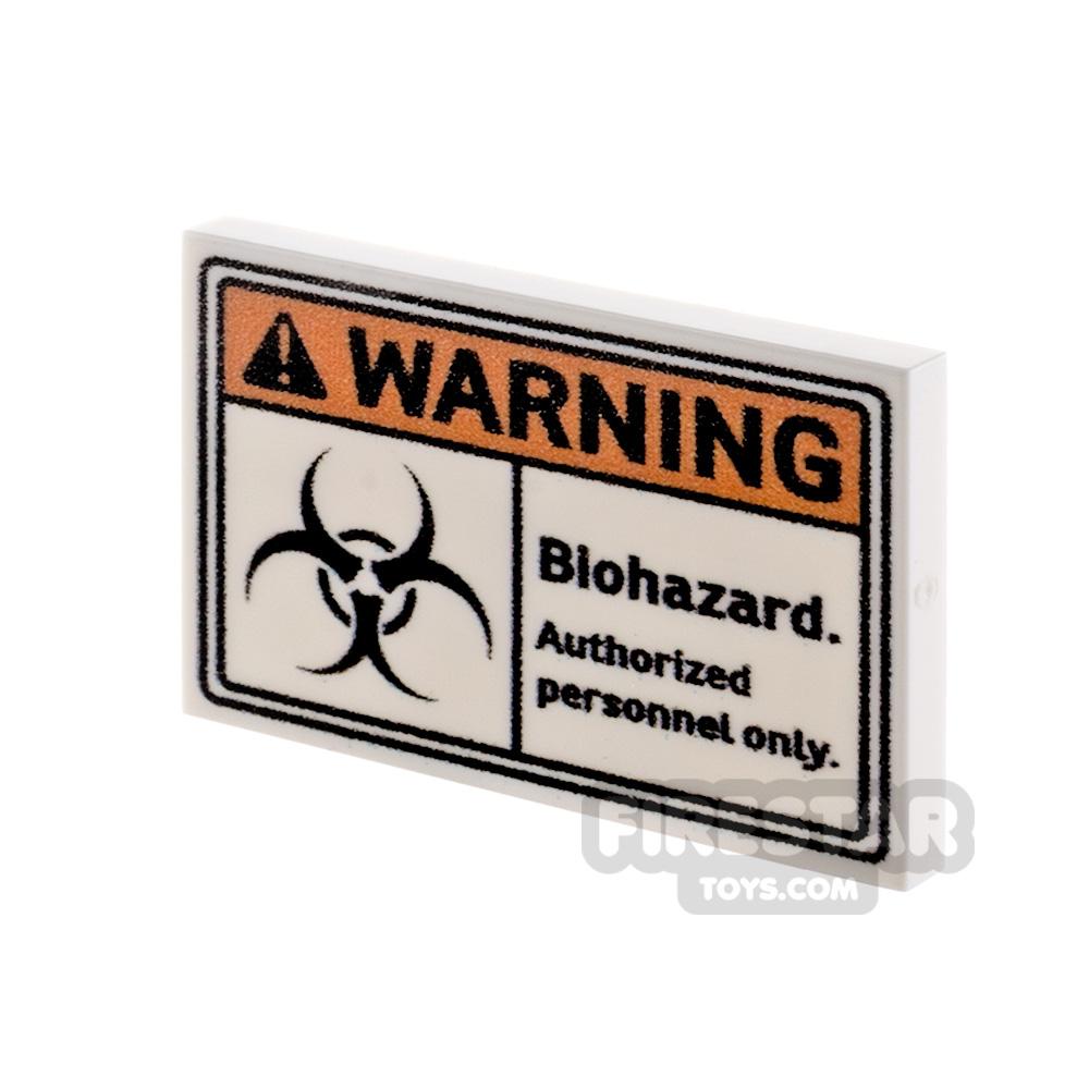 Printed Tile 2x3 Warning Biohazard Sign