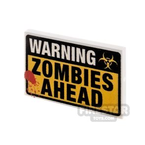Printed Tile 2x3 Warning Zombies Ahead Sign