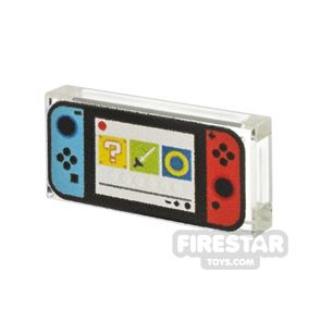 Printed Tile 1x2  Bricktendo Switch Blue and Red
