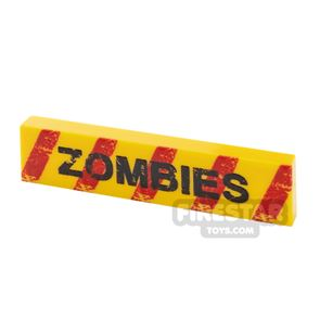 Printed Tile 1x4 Zombie Warning without Bullet Holes